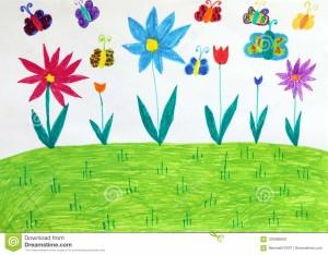 disegno-del-s-dei-bambini-con-gli-alberi-ed-i-fiori-delle-farfalle-illustrazione-puerile-120469050